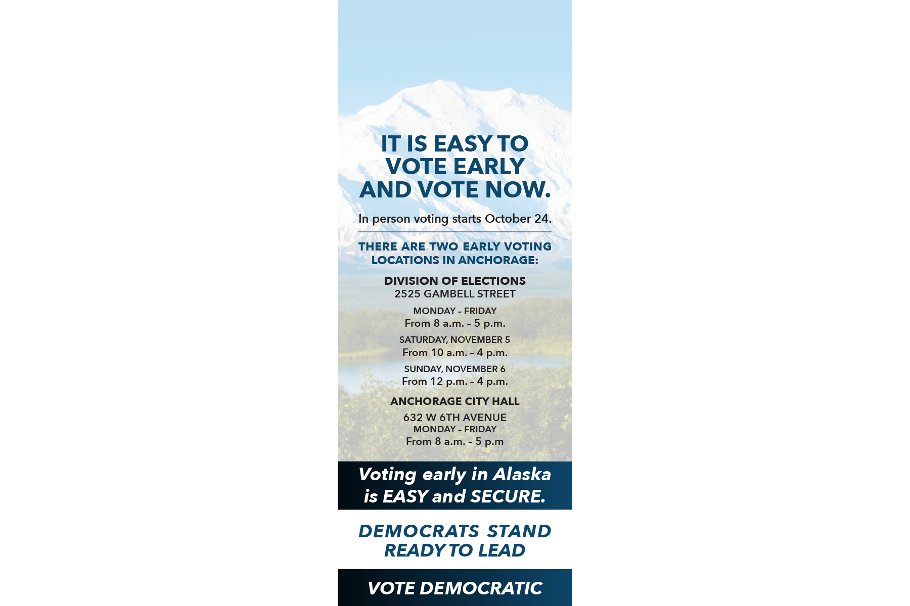 Alaska Democratic Party Doorhanger